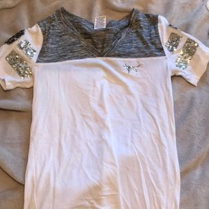Victoria Secret Pink T-shirt gray and white
